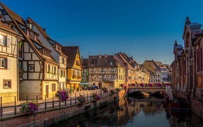 Colmar, 4k, french cities, morning, bridge, embankment, France, Europe