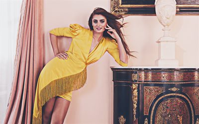 4k, Taylor Hill, 2020, american celebrity, yellow dress, beauty, Victorias Secret Angel, Taylor Marie Hill, Taylor Hill photoshoot, american models
