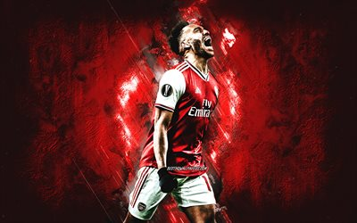 Pierre-Emerick Aubameyang, gabone footballeur, Arsenal FC, portrait, rouge, créative, le football, l'Angleterre, la Premier league