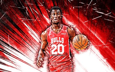 4k, Adam Mokoka, grunge art, Chicago Bulls, NBA, basketball, USA, Adam Mokoka Chicago Bulls, red abstract rays, creative, Adam Mokoka 4K