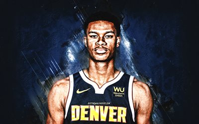 PJ Dozier, NBA, Denver Nuggets, blue stone background, American Basketball Player, portrait, USA, basketball, Denver Nuggets players, Perry Dozier Jr