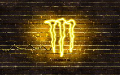 Monster Energy yellow logo, 4k, yellow brickwall, Monster Energy logo, drinks brands, Monster Energy neon logo, Monster Energy