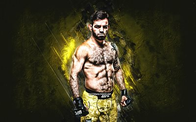 Bruno Silva, Brazilian fighter, MMA, UFC, portrait, yellow stone background, creative art