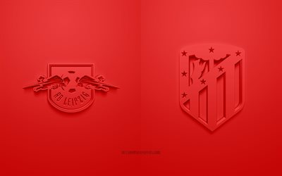 RB Leipzig vs Atlrtico Madrid, UEFA Champions League, 3D logos, promotional materials, red background, Champions League, football match, Atletico Madrid, RB Leipzig