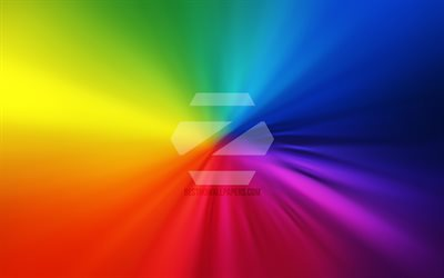 Zorin OS logo, 4k, vortex, Linux, rainbow backgrounds, creative, operating systems, artwork, Zorin OS