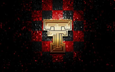 Texas Tech, glitter logo, NCAA, red black checkered background, USA, american football team, Texas Tech logo, mosaic art, american football, America