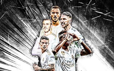 4k, Gareth Bale, Vinicius Junior, Eden Hazard, James Rodriguez, Sergio Ramos, grunge art, Real Madrid FC, La Liga, football stars, LaLiga, Real Madrid team, white abstract rays, soccer, Real Madrid CF