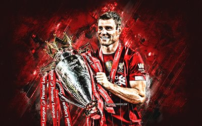 James Milner, Liverpool FC, English footballer, midfielder, portrait, red stone background, Premier League, England, football, James Milner with the Premier League Cup