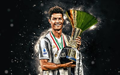 Cristiano Ronaldo with cup, 4k, Juventus 2020 uniform, CR7, portuguese footballers, Italy, Bianconeri, Juventus FC, Cristiano Ronaldo, soccer, CR7 Juve, football stars, Serie A, Cristiano Ronaldo 4K, white neon lights