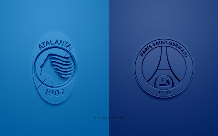 Atalanta vs PSG, UEFA Champions League, 3D logos, promotional materials, blue background, Champions League, football match, PSG, Atalanta, Paris Saint-Germain