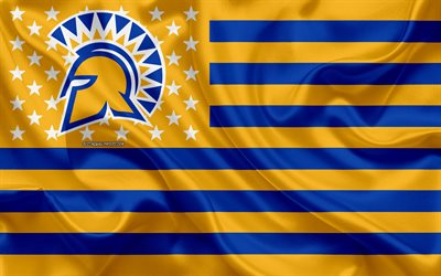 San Jose State Spartans, American football team, creative American flag, yellow-blue flag, NCAA, San Jose, California, USA, San Jose State Spartans logo, emblem, silk flag, American football