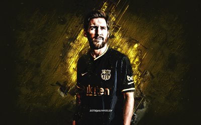 Lionel Messi, FC Barcelona, Argentine football player, black Barcelona uniform, world football star, Barcelona 2021 uniform, Leo Messi, football