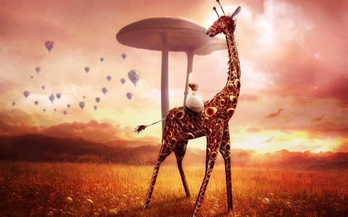 Giraffe, small girl, mushrooms