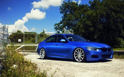 BMW 3-series, F30, sedans, 335i, Vossen, tuning, blue bmw