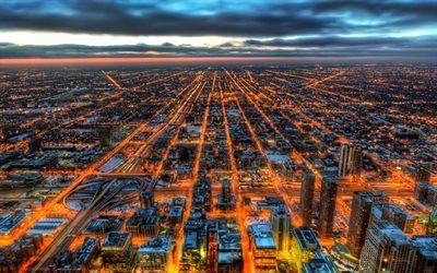 Chicago, panorama, sunset, USA, HDR, Illinois, America