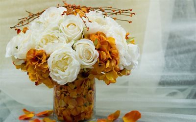 autumn bouquet, white roses, beautiful bouquet, roses