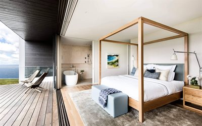 interior bedroom, country house, modern bedroom design, wooden bed