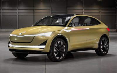 download wallpapers skoda vision e concept 2017 czech concepts new cars suv skoda for. Black Bedroom Furniture Sets. Home Design Ideas