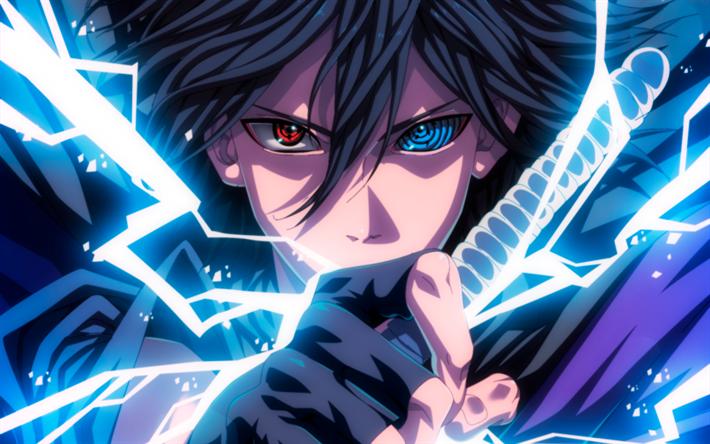 foto de Download wallpapers Sasuke Uchiha, neon lights, manga, artwork ...