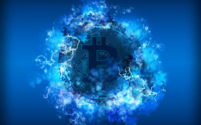 4k, Bitcoin, neon lights, electronic money, blue background, crypto currency, creative