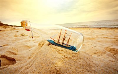 boat in a glass bottle, sunset, evening, beach, sand, travel concepts, sea