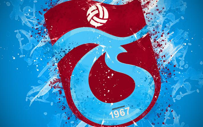 Download Wallpapers Trabzonspor, 4k, Paint Art, Logo