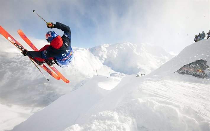 winter sports, Mountain skiing, skiing, snow, winter, Red Bull, extreme sports