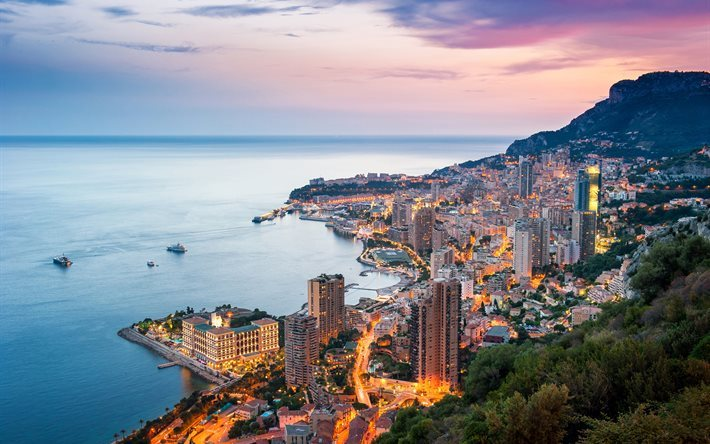 sunset, Monaco, Monte Carlo, Mediterranean Sea, the coast