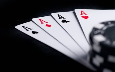 playing cards, 4k, quads aces, poker chips