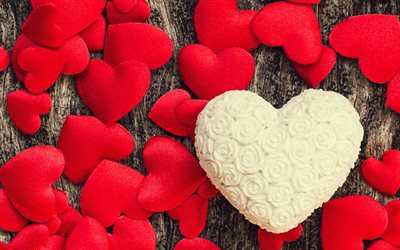 Valentines Day, red heart, romance, February 14, wooden background