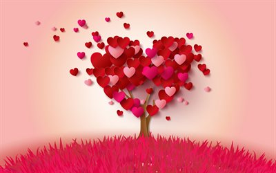 red heart, abstract tree, romance, valentine's day, romantic background, love concepts