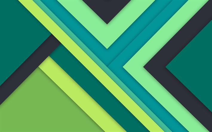 Scarica Sfondi Il Design Dei Materiali 4k Verde E Giallo A Righe