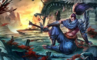 4k, Yasuo, League of Legends, MOBA, artwork, warrior, League of Legends characters