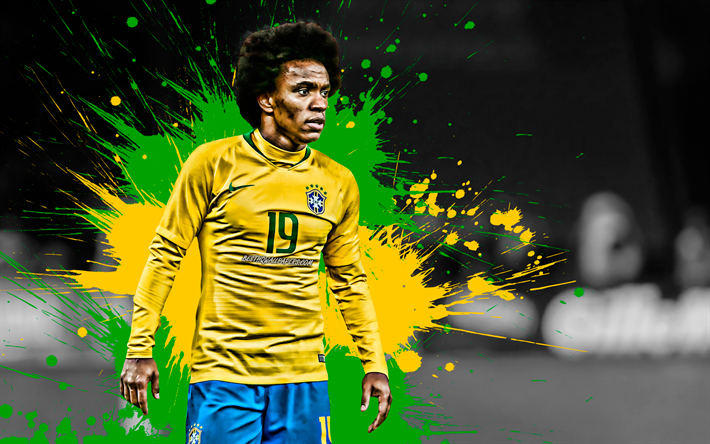 Download Wallpapers 4k, Willian, Green And Yellow Splashes