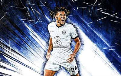 4k, Reece James, grunge art, Chelsea FC, english footballers, Premier League, soccer, Reece James Chelsea, football, blue abstract rays, Reece James 4K