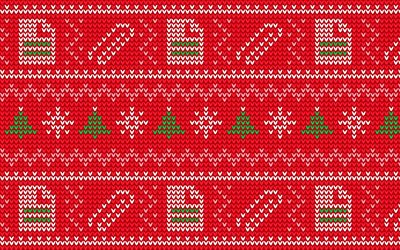 red christmas pattern, 4k, xmas decorations, christmas knitted texture, christmas patterns, red christmas backgrounds