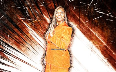 4k, Queen Latifah, grunge art, american singer, music stars, orange abstract rays, american celebrity, Dana Elaine Owens, superstars, Queen Latifah 4K