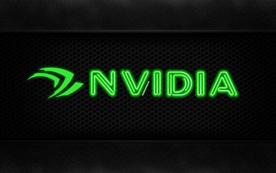Nvidia, 4k, neon logo, creative, metal background, Nvidia logo
