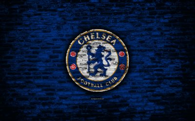 Chelsea FC, logo, blue brick wall, Premier League, English football club, soccer, football, The Pensioners, Chelsea, brick texture, London, England
