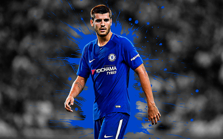 Download Wallpapers Alvaro Morata, 4k, Art, Chelsea FC
