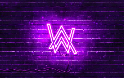 4k, Alan Walker viola logo, superstar, viola, brickwall, Alan Walker logo, Alan Olav Walker, star della musica, Alan Walker neon logo, Alan Walker