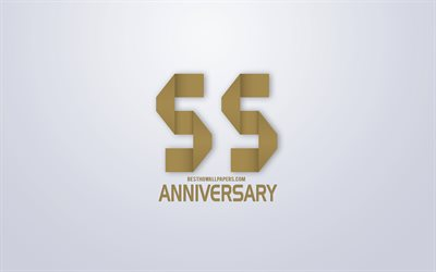 55th Anniversary, Anniversary golden origami Background, creative art, 55 Years Anniversary, gold origami letters, 55th Anniversary sign, Anniversary Background