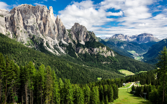 mountain landscape, valley, mountains, trees, Alps, Switzerland, rocks