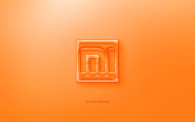 Xiaomi 3D logo, orange background, Orange Xiaomi jelly logo, Xiaomi emblem, creative 3D art, Xiaomi