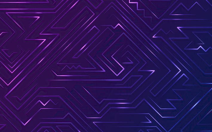 abstract labyrinths, 4k, violet neon lights, abstract maze, labyrinths, maze concepts
