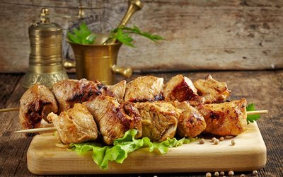 kebabs, roast meat, pork, meat, meat dishes