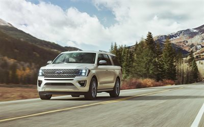 Ford Expedition, 2018, 4k, American SUV, luxury cars, white Expedition, road, speed, USA, Ford