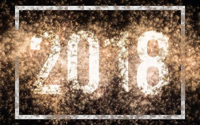 Happy New Year, 2018 concepts, fireworks, light, New 2018 Year