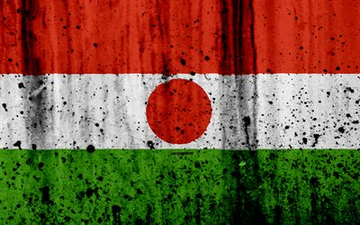 Niger flag, 4k, grunge flag of Niger, in Africa, il Niger, il national simbolo, Niger national flag