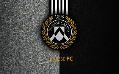 Udinese FC, 4k, Italian football club, Serie A, emblem, logo, leather texture, Udine, Italy, Italian Football Championships